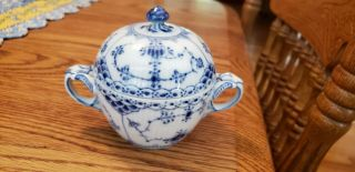 Rare Royal Copenhagen Signed Blue Fluted Lace Handled Sugar Bowl With Finial