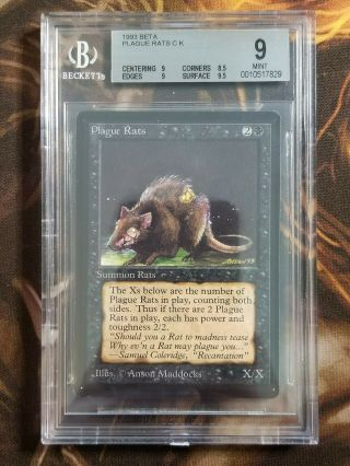 1993 Mtg Beta Plague Rats Bgs 9.  0 Vintage Magic The Gathering