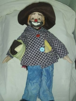 """Rare Vintage Large Porcelain Clown Doll,  19 """" Tall W/camping"""