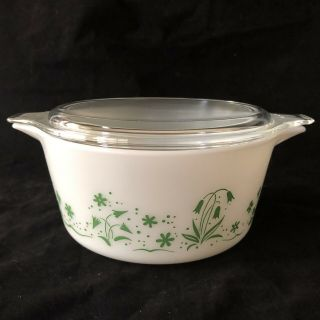 Rare Promo Pyrex Brides Casserole Dish 1 1/2 Quart Green Flower 474 B With Lid