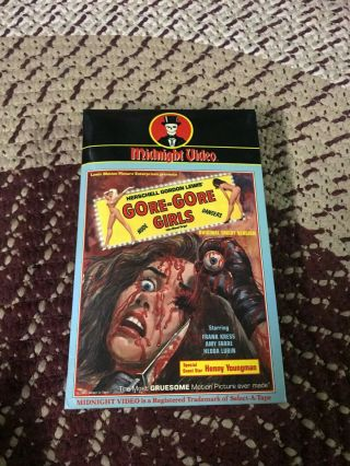 Midnight Video Gore Gore Girls Horror Sov Slasher Rare Oop Vhs Big Box Slip