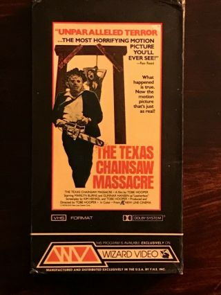 The Texas Chainsaw Massacre Vhs Wizard Video Rare Horror Gore Full Flap Box