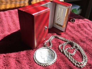 """Rare 1928 S Sterling Silver Dollar Mounted On 24"""" Heavy Sterling Rope Necklace"""