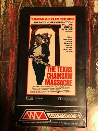 The Texas Chainsaw Massacre Vhs Wizard Video Rare Horror Full Flap Box