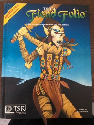 Rare Vintage 1981 Advanced Dungeons & Dragons Fiend Folio Don Turnbull 2012