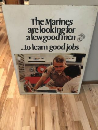 Vintage 1972 Military Recruiting War Sign A Few Good Men Double Side Very Rare