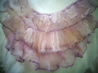 Rare Charming Antique French Lavender Tulle Ruffle From A Ballet Skirt