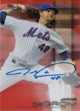 Jacob Degrom Rare 2019 Topps Finest Orange Refractor On Card Auto 01/25 Mets Sp