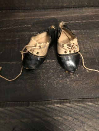 """Rare Antique German Or French Bisque Doll Shoes 2.  9"""" Long Size 5"""