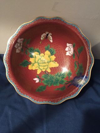 Vintage 1960 - 70s Chinese Cloisone Bowl Rare In Us