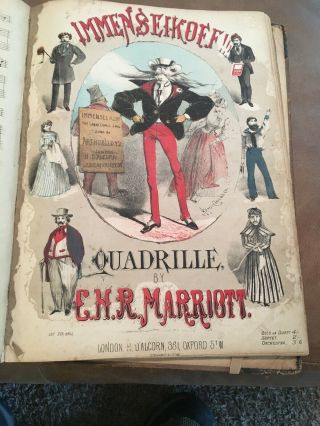 1873 Antique Sheet Music Book London Quadrille Illustrations Awesome Rare 12 Pc