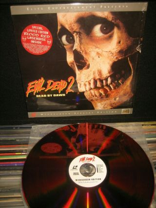 "Evil Dead 2 "" Blood Red "" Laserdisc Ld Bruce Campbell Sam Raimi Horror Rare 1987"