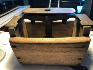 Vintage Butter Press Mold Early Wood & Brass Rare Stamp