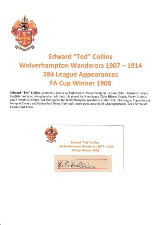 Ted Collins Wolverhampton Wanderers 1907 - 1914 Extremely Rare Orig Signed Cutting