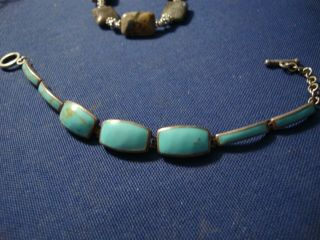 Rare Ati Turquoise Sterling Silver Old Pawn Big Chunky Bracelet
