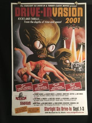 Invasion Of The Saucer Men Drive In Movie Poster One Sheet Rare Tcm Sci - Fi