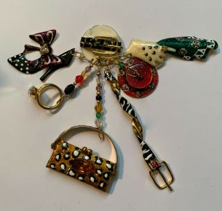 Rare Vintage 80s Lunch At The Ritz Fashion Themed Enamel And Gold Tone Pin