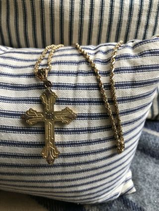 Antique Victorian Yellow Gold Rose Gold Cross Mourning Necklace Gothic Rare