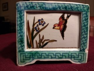Gorgeous Rare Antique Gien France Faience Small Box 19th Cent.  Ronce Bird Scenes
