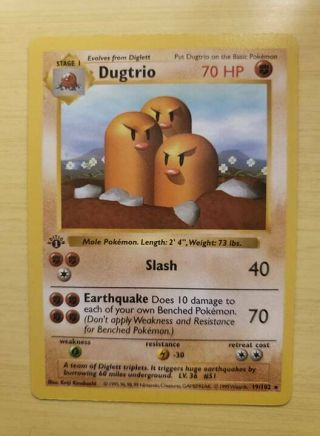 1999 Pokemon 1st Edition Shadowless Dugtrio Base Set 19/102