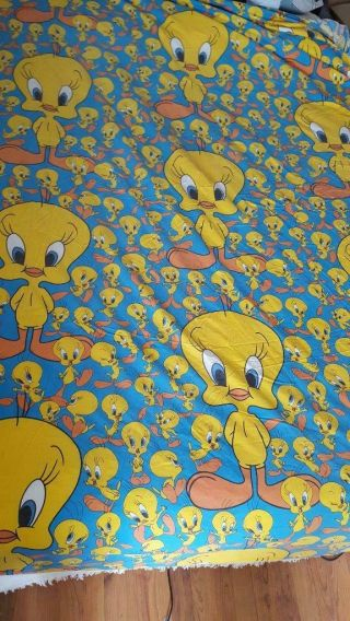 """Rare Vintage Looney Tunes Tweety Bird Cotton Fitted Bed King Size Sheet,  8 """" Deep"""