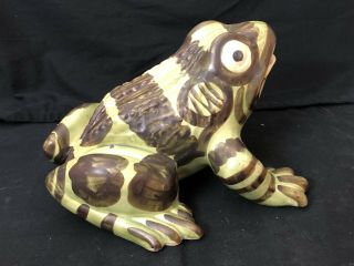 Rare Extra Large Vintage Brush Mccoy Art Pottery Frog Figure 11 Inches Antique
