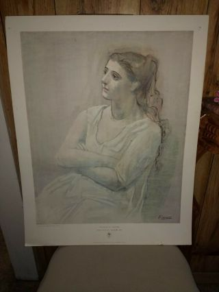 Vintage Museum Of Modern Mega Rare Poster Of Picasso : Woman In White