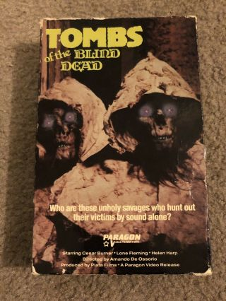 Tombs Of The Blind Dead Big Box Vhs Paragon Video Rare Slasher Horror