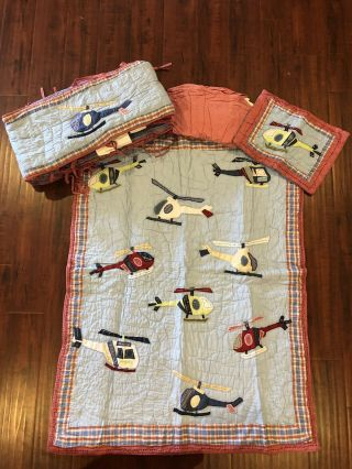 Rare Pottery Barn Kids Helicopter Baby Bedding 4 Pc Quilt Bumper Skirt Pillow