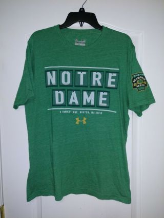 Notre Dame 2015 Shamrock Series Under Armour Large Shirt - Rare - Fenway Boston