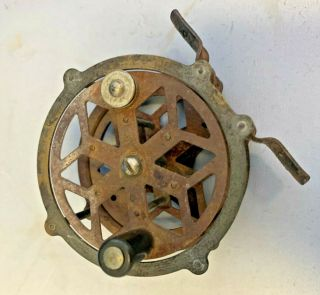 Rare Vintage Brass Fly Fishing Reel Collector Antique