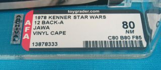 1978 Kenner Star Wars 12 Back - A Jawa Vinyl Cape AFA Graded 80 NM Unpunched Card 3