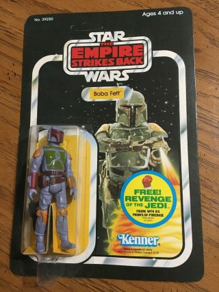 1982 Star Wars Esb Empire Strikes Back Boba Fett Kenner Carded 48 Back Unpunched