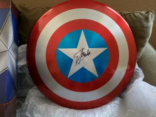 Captain America 75th Anniversary Metal Shield Signed Stan Lee Marvel End Game