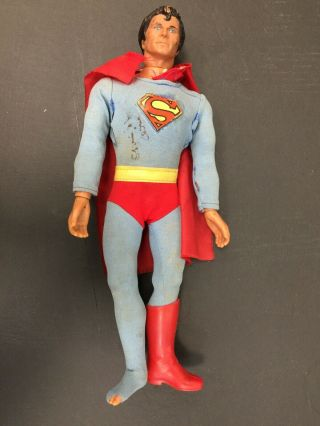 "1977 Mego Superman 12 1/2"" Action Figure Autographed Twice By Christopher Reeve"