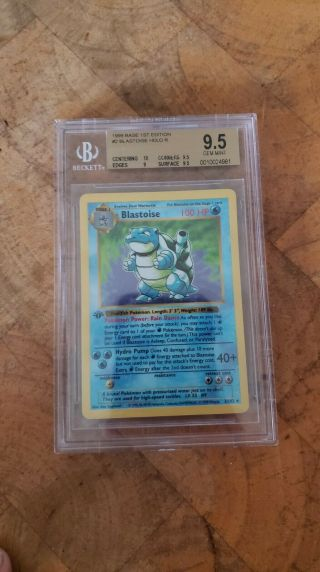 1999 Pokemon Game 1st Edition Blastoise Bgs 9.  5 With A 10 Grade (short)
