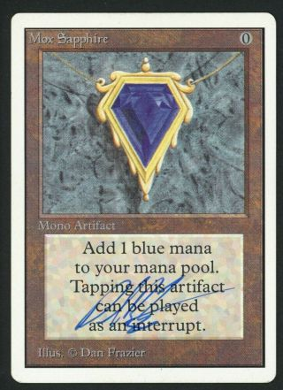 1x Unlimited Mox Sapphire Signed Mtg Unlimited Dan Frazier - Kid Icarus -