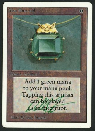1x Unlimited Mox Emerald Signed (roller Line) Mtg Unlimited Dan Frazier