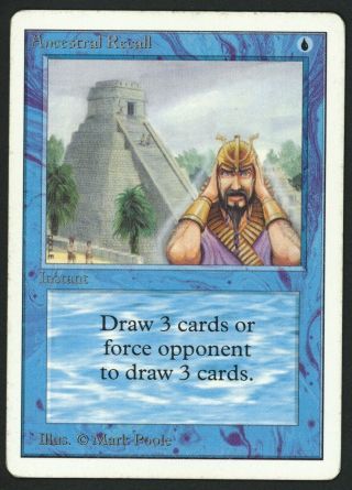 1x Unlimited Ancestral Recall (roller Line) Mtg Unlimited - Kid Icarus -