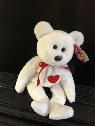 Valentino Ty Beanie Baby With Brown Nose Black Eyes.  1994 Swing & 1993 Tush Tags