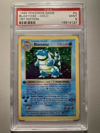 Pokemon Card - Psa 9 1st Edition Base Set Blastoise Holo 1999 2/102 Shadowless