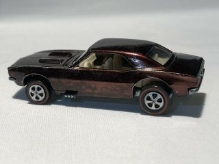 1968 Hot Wheels Redline Metallic Brown Custom Camaro W/white Interior