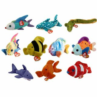 Ty Beanie Babies - Set Of 10 Fish & Sealife (coral,  Aruba,  Bubbles,  Morrie, )