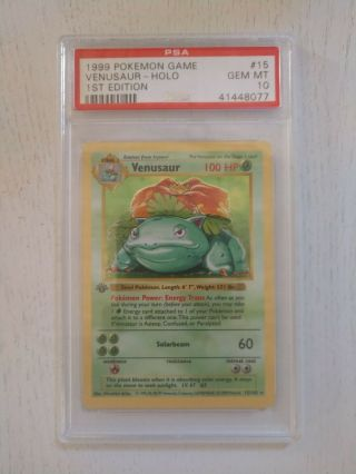 Psa 10 First Edition Holo Venusaur Base Set Strong 10