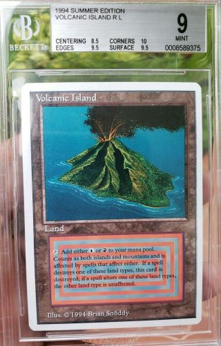 Vintage Magic | BGS 9 MTG Summer Magic Volcanic Island.  5 from 9.  5 w/10 SUBGRADE 3