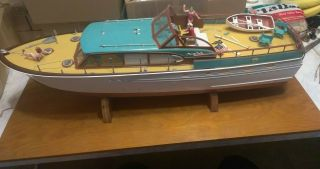 Rare Marx Model Chris Craft Constellation Yacht Boat Model W Wooden Stand Pics
