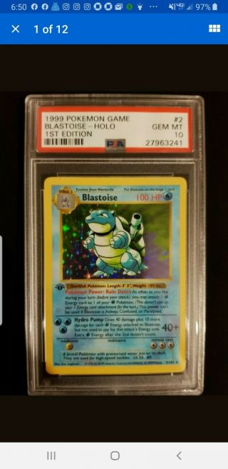 1999 Base Set 1rst Edition Blastoise Shadowless Holo Psa 10