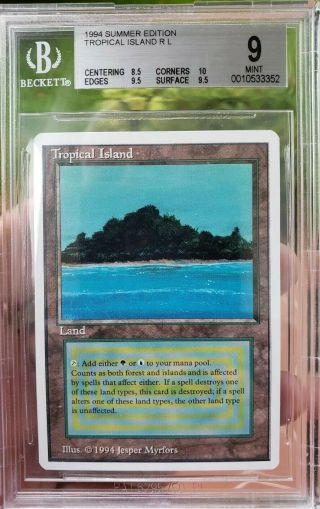 Vintage Magic | Bgs 9.  5 Mtg Summer Magic Tropical Island, .  5 From Gem