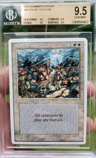 Vintage Magic | Bgs 9.  5 Mtg Summer Magic Wrath Of God,  Quad,  10,