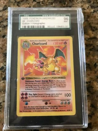 Pokémon Charizard Base Set 1st Edition Rare Holo Shadowless 4/102 Sgc 9.  6